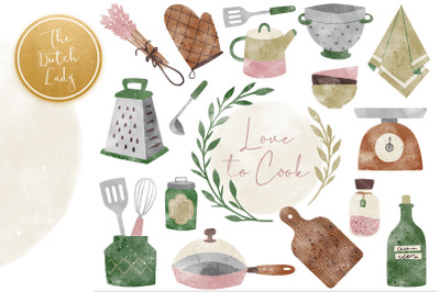 Kitchen Tools & Cooking Clipart Set