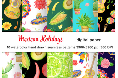 Watercolor mexican fiesta digital paper pack. Hand drawn summer PNG