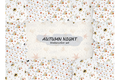 watercolor pattern set of japan autumn night