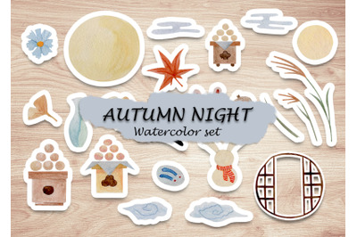 watercolor elements set of japan autumn night