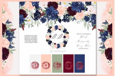 Navy Blue, Blush Pink and Burgundy. Branding kit