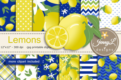 Lemon Digital Paper and Clipart