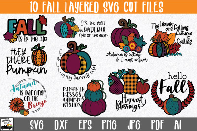 Fall SVG File Bundle with 10 Layered Cut Files