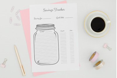 Saving Jar Tracker, Savings Tracker, Baby Steps Chart