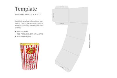 Mini Popcorn Box Template | Silhouette Studio | Cricut Silhouette