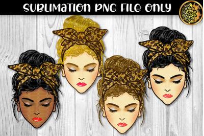 Glitter Messy Bun Momlife Sublimation PNG