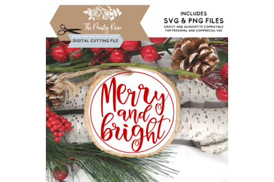 Merry and Bright Christmas svg, Christmas svg, ornament designs