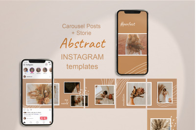 Carousel Posts Feed and Stories. Abstract Instagram Template