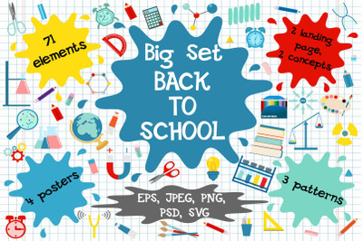 Back to school clipart. patterns.landing pages.