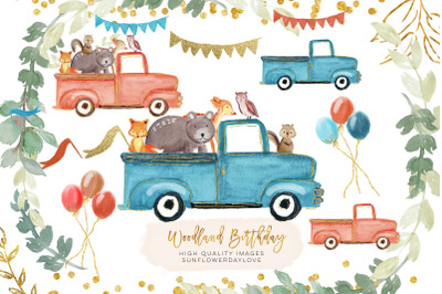 Drive By Baby Shower clipart, woodland birthday clipart