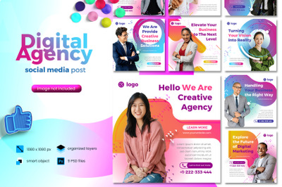 Digital Agency Social Media Post template with fun color theme