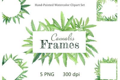 Cannabis leaves. Watercolor frame clipart. Hand drawn marijuana. 5 PNG