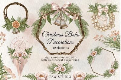 Christmas Boho Border Bouquet Wreath Winter Decoration Holiday Clipart