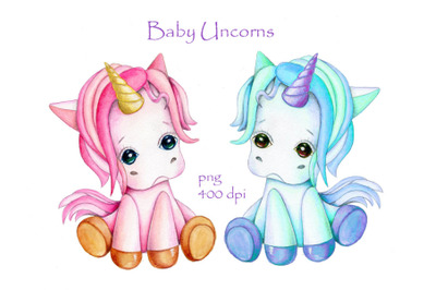 Baby Unicorns. Watercolor illustration.