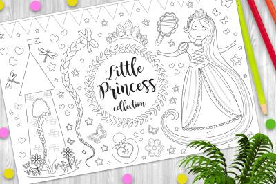 Cute little princess Rapunzel set Coloring book page