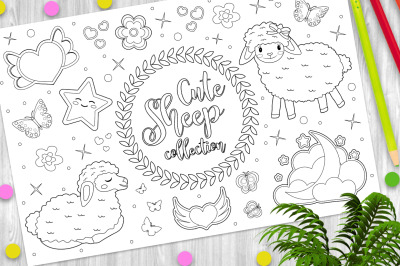 Cute little sheep set Coloring book page for kids
