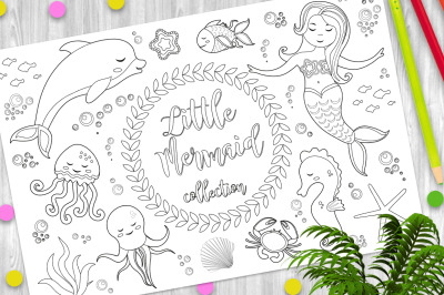 Cute little mermaid and underwater world set Coloring book page