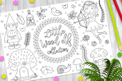 Cute forest elf character set Coloring book page for kids