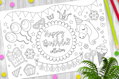 Happy birthday cute coloring book page for kids