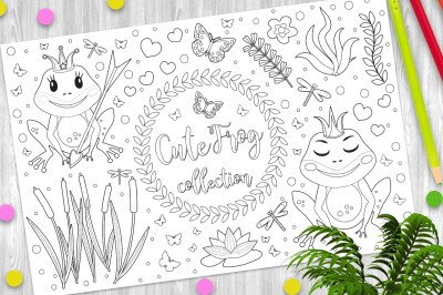 Cute frog princess Coloring book page for kids