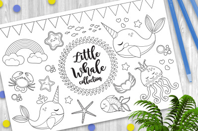 Little whale unicorn set Coloring book page for kids