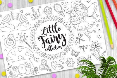 Cute little fairy set Coloring book page for kids