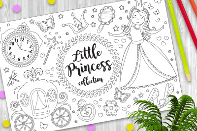 Cute little princess Cinderella set Coloring book page for kids