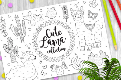 Cute little llama set Coloring book page for kids