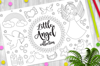 Cute little angel set Coloring book page for kids