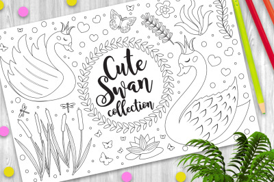 Cute swan set Coloring book page for kids