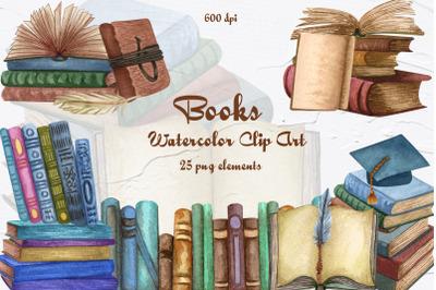 Books Watercolor Clipart