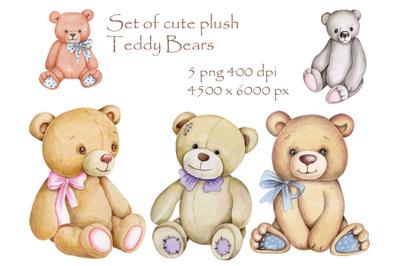 Set of cute plush teddy bears. Hand drawn watercolor illustrations.