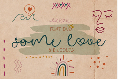 Some Love Font Duo & Doodles