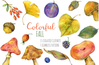 Colorful fall. Watercolor isolated cliparts and patterns