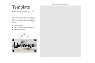 Hanging Welcome Sign Template | Silhouette Studio | Cricut Silhouette