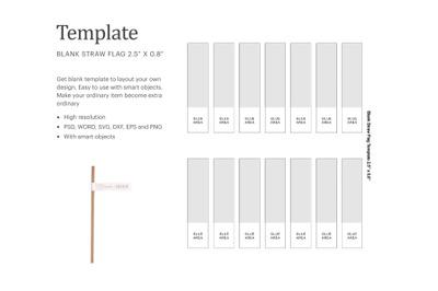 Straw Flag Blank Template | Silhouette Studio | Cricut Silhouette