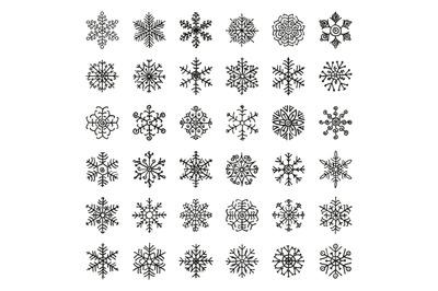 Black Winter Snowflakes Doodles. Hand-Drawn Xmas Vector Illustration.