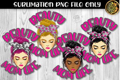 Pink Polka Dot Bandana Messy Bun Momlife Sublimation PNG