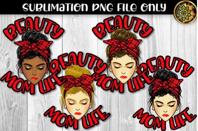Red Plaid Bandana Messy Bun Momlife Sublimation PNG