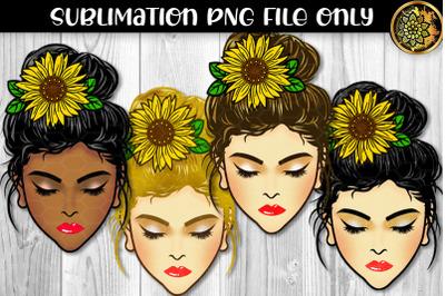Messy Bun & Sunflower Momlife Sublimation PNG