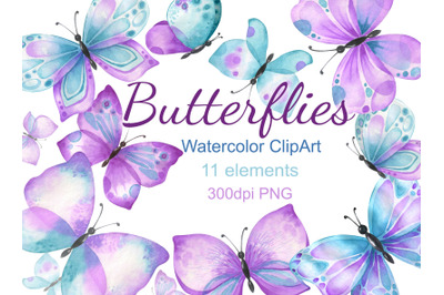 Watercolor butterfly clipart purple turquoise butterflies clip art png