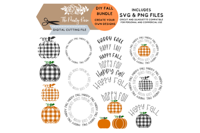Buffalo Plaid Pumpkin, Fall DIY bundle, Create your own designs, Fall