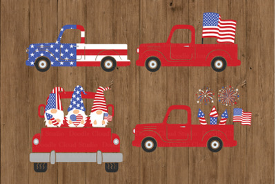 Truck SVG, Patriotic Truck SVG, Amercian Flag, Fireworks, 4th of July