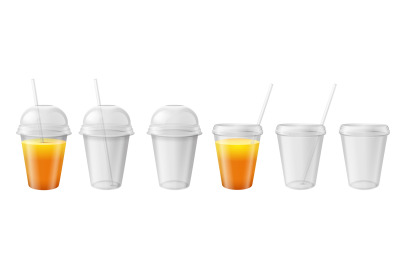 Transparent plastic cup. Takeaway disposable mug with lid and straw. J