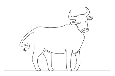One line ox. Chinese new year 2021 bull continuous line art, zodiac as
