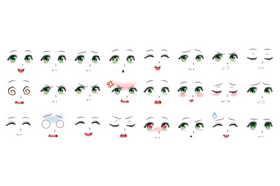Manga expression. Anime girl facial expressions. Eyes, mouth and nose,