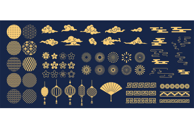 Chinese elements. Asian new year gold decorative patterns and lanterns