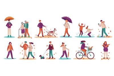 People in fall season. Men and women walk street, ride bicycle, walkin