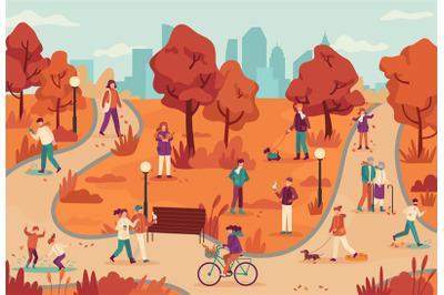 People in autumn park. Women and men relaxing outdoor, ride bike in pu