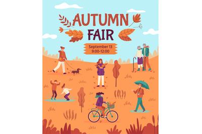Autumn fair. People enjoying public park, fall festival arts, crafts a